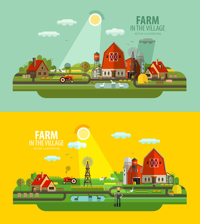 harvest: farm buildings and greenhouses. vector. flat illustration Illustration