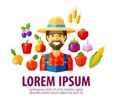happy farmer: happy farmer with vegetables and fruit. vector. flat illustration