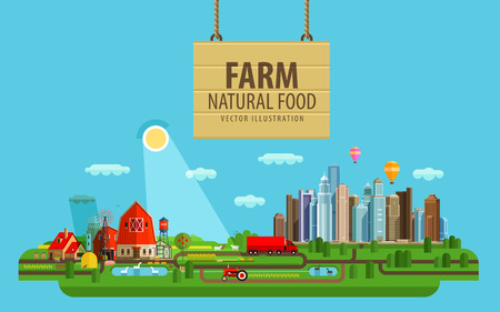 granja: edificios agrícolas e invernaderos. vector. ilustración plana Vectores