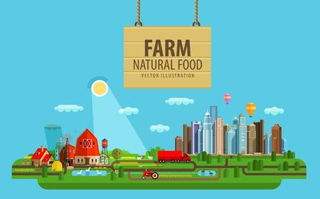 öko: landwirtschaftlichen Gebäuden und Gewächshäusern. vector. Flach illustration Illustration