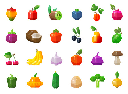 gherkin: a set of colored icons on the theme of vegetables and fruits. vector. flat illustration