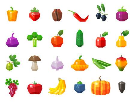 weegbree: set of colored icons on the theme of vegetables and fruits. vector. flat illustration Stock Illustratie