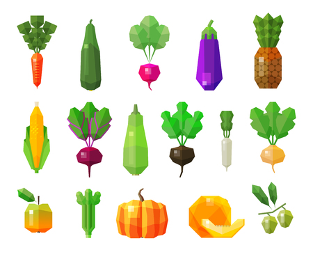 courgette: set of colored icons on the theme of vegetables and fruits. vector. flat illustration Illustration