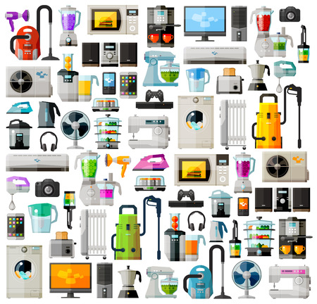 elektrizit u00e4t: Reihe von farbigen Symbole auf das Thema von Haushaltsgeräten. vector. Flach illustration