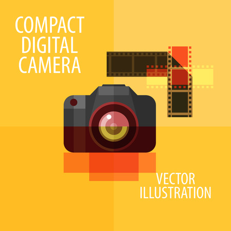 photography logo: abstract modern digital camera. vector. flat illustration
