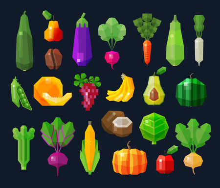 set of colored icons on the theme of fresh vegetables and fruits. vector. flat illustration Illustration