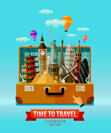monuments of the world in an open travel suitcase. vector. flat illustration