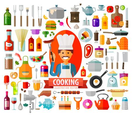 食品、キッチン用品をテーマにカラー アイコンのコレクション。ベクトル。フラットの図