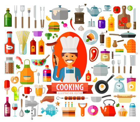collection of color icons on the theme of food, kitchen utensils. vector. flat illustration