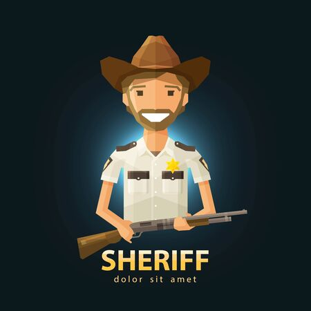 happy Sheriff with a gun in his hand. vector. flat illustration Illustration