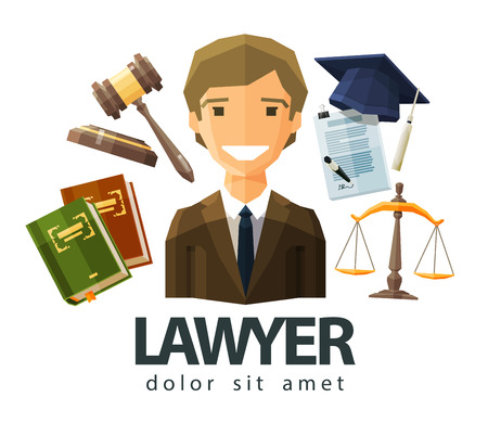 law books: happy lawyer in a business suit. vector. flat illustration