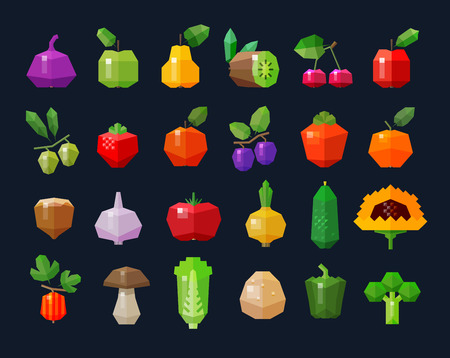 gherkin: set of colored icons on the theme of fresh vegetables and fruits. vector. flat illustration Illustration