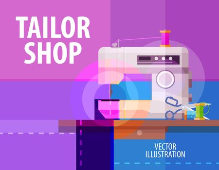 machine shop: abstract electric sewing machine. vector. flat illustration
