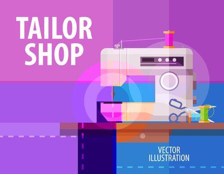 maquinas de coser: abstracta máquina de coser eléctrica. vector. ilustración plana Vectores