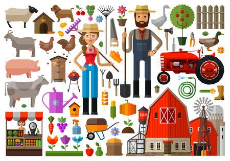 granjero: conjunto de iconos de la agricultura. vector. ilustración plana