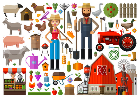 farmer: set of icons farming. vector. flat illustration