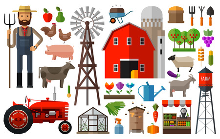 vaca caricatura: conjunto de iconos de la agricultura. vector. ilustración plana