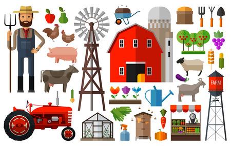 granary: set di icone allevamento. vettore. illustrazione piatta Vettoriali