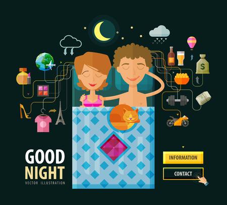 buonanotte: marito e moglie a letto a dormire. illustrazione vettoriale Vettoriali
