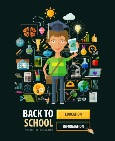 schoolkid: schoolboy and a set of icons on the theme of school. vector illustration Illustration