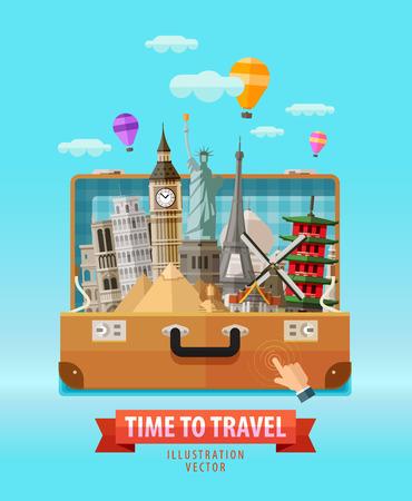travel: 야외 가방과 역사적인 건축물을 여행한다. 벡터 일러스트 레이 션 일러스트