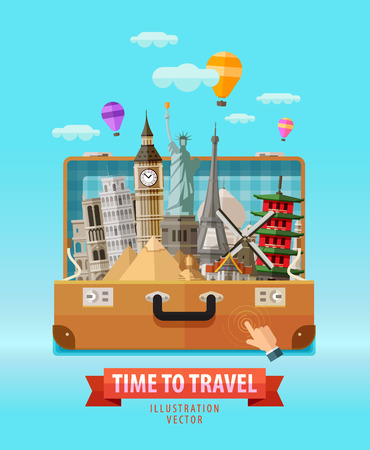 illustration journey: travel outdoor bag and historic architecture. vector illustration