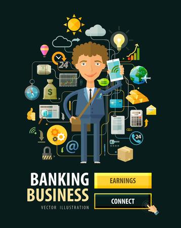 cuenta bancaria: hombre joven con un teléfono en la mano. ilustración vectorial Vectores