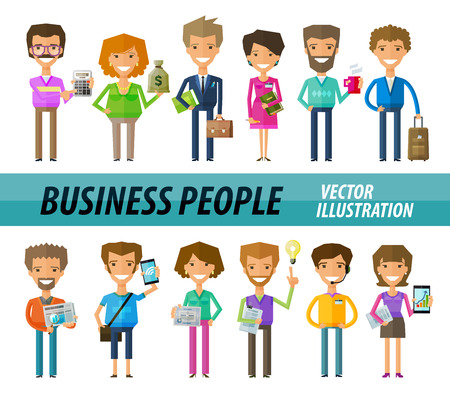 staffing: business people in the office. vector illustration