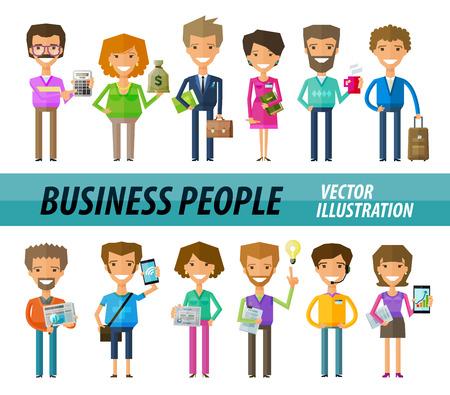 caras graciosas: la gente de negocios en la oficina. ilustraci�n vectorial Vectores
