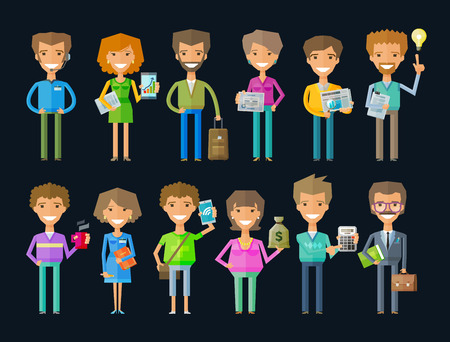 superintendent: business people in the office. vector illustration