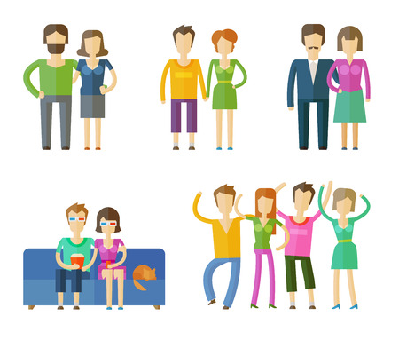 wedlock: people set color icons on white background. vector illustration Illustration