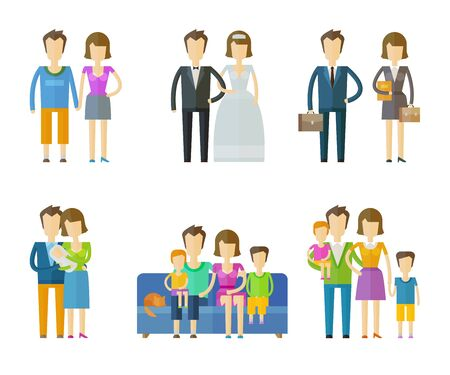 husband and wife: people set color icons on white background. vector illustration Illustration
