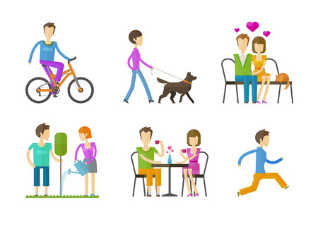 walk: people set color icons on white background. vector illustration Illustration