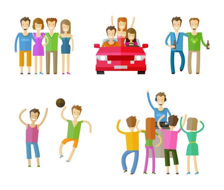les gens mis icônes de couleur sur fond blanc. illustration vectorielle