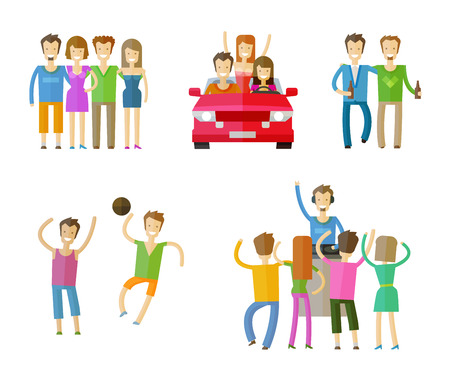 leisure games: people set color icons on white background. vector illustration Illustration