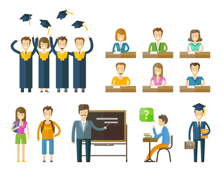 teacher and students: people set color icons on white background. vector illustration Illustration