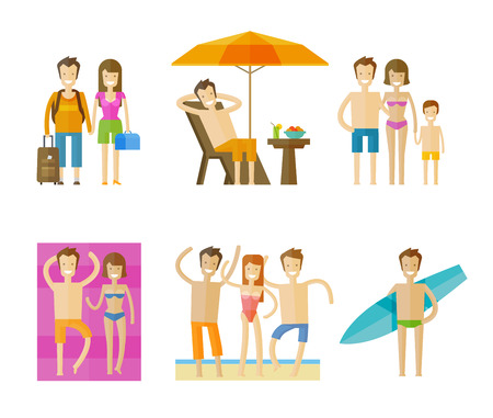 sunbed: people set color icons on white background. vector illustration Illustration