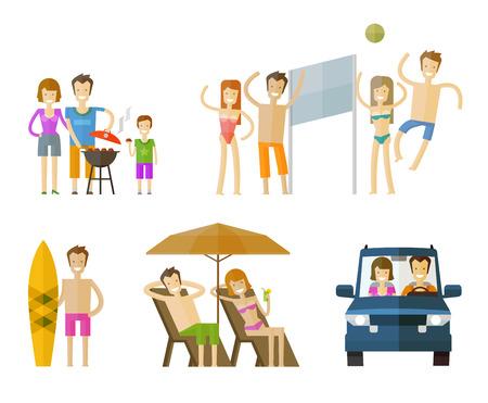 vacaciones en la playa: gente Iconos de colores sobre fondo blanco. ilustraci�n vectorial Vectores