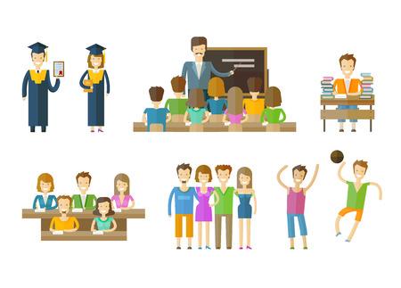 教育: 人々 は、白い背景の色のアイコンを設定します。ベクトル図  イラスト・ベクター素材