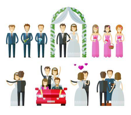 결혼식: 사람들은 흰색 배경에 컬러 아이콘을 설정합니다. 벡터 일러스트 레이 션