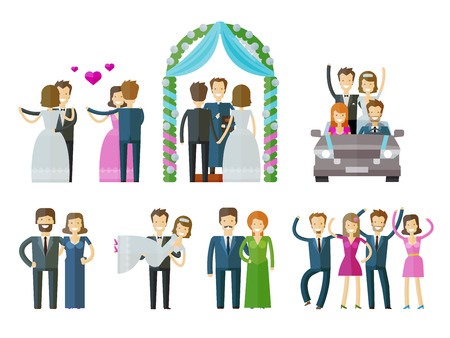 marriage cartoon: people set color icons on white background. vector illustration Illustration