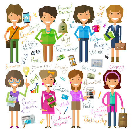 monies: young woman working in the office. icons set. vector illustration Illustration