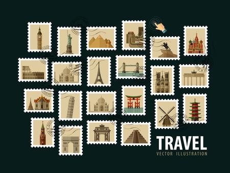 旅行: 郵票。世界的歷史建築。矢量插圖