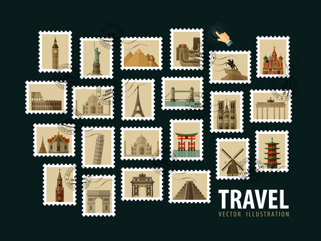 historic architecture: postage stamps. the historic architecture of the world. vector illustration