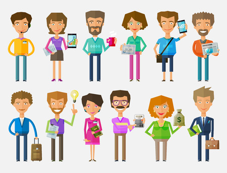 entrepreneur: business people a set of colored icons on white background. vector illustration
