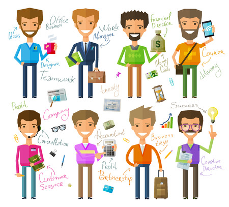accountants: business people a set of colored icons on white background. vector illustration