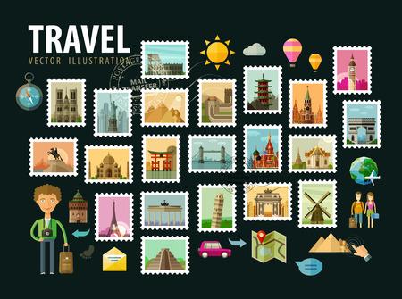 旅行: 世界的歷史建築。矢量插圖