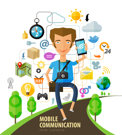 young guy with a phone in hand. vector illustration Illustration