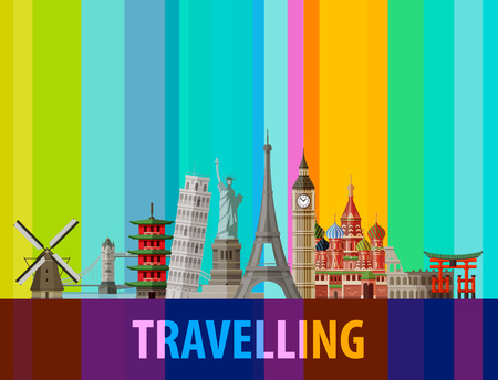 historic architecture of the countries around the world on a colored background. vector illustration Illustration