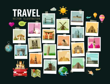 旅行: 照片歷史悠久的建築在世界上。矢量插圖 向量圖像